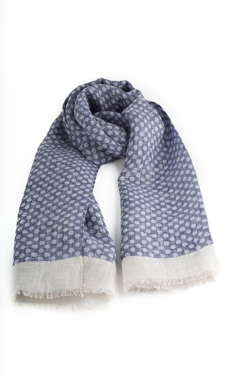 Scarf Polka Dot - Navy Blue/Light Blue/Beige