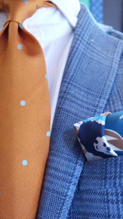 Silk Grande Fiori - Navy Blue/Beige/Turquoise
