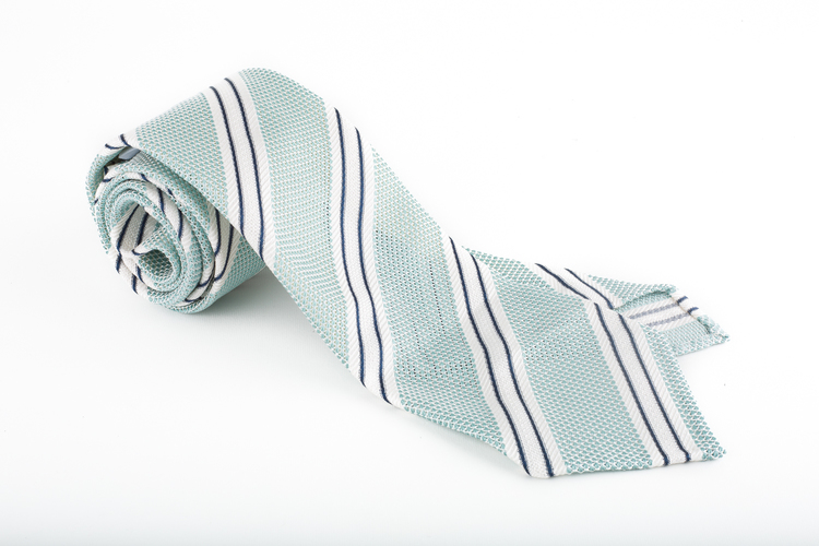 Regimental Silk Grenadine Tie - Untipped - Mint/Navy Blue