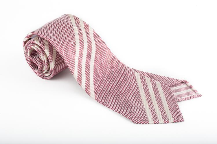 Regimental Silk Grenadine Tie - Untipped - Cerise/White