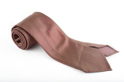 Solid Textured Silk Tie - Untipped - Brown