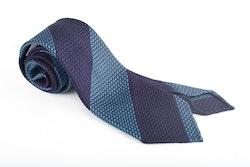 Regimental Silk Grenadine Tie - Untipped - Navy Blue/Blue