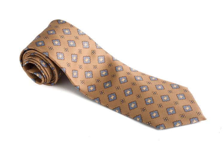 Medallion Vintage Silk Tie - Beige/Light Blue