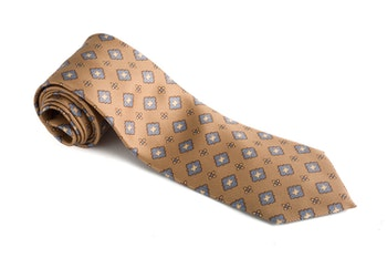 Medallion Vintage Silk Tie - Beige/Light Blue