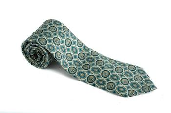 Medallion Vintage Silk Tie - Light Green
