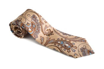 Paisley Vintage Silk Tie - Beige/Light Blue