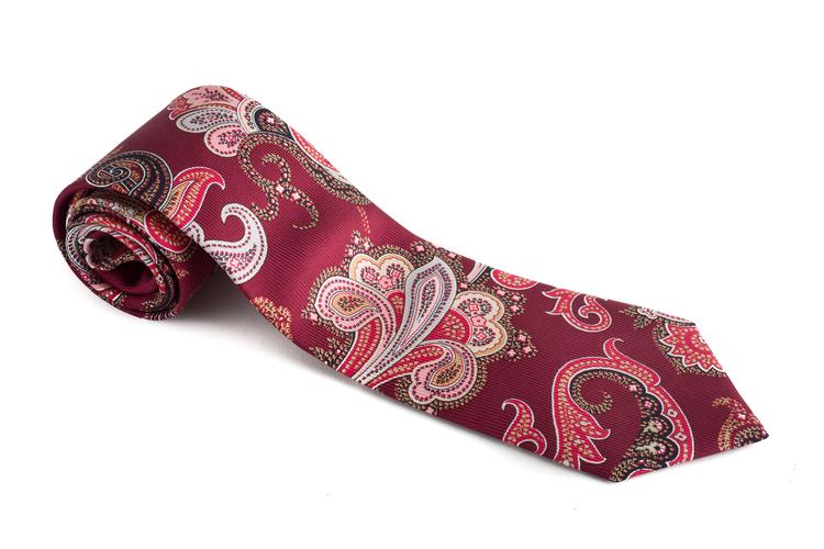 Paisley Vintage Silk Tie - Burgundy/Beige/Pink