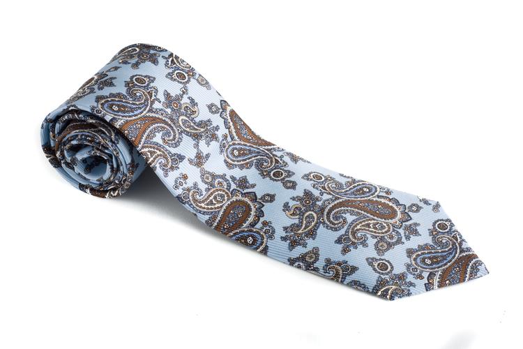 Paisley Vintage Silk Tie - Light Blue/Brown