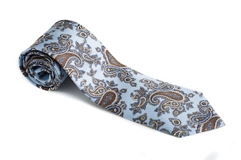 Paisley Vintage Silk Tie - Light Blue/Brown