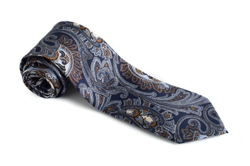 Paisley Vintage Silk Tie - Navy Blue/Orange/Light Blue
