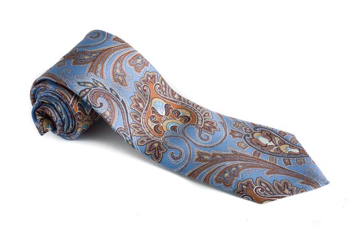 Paisley Vintage Silk Tie - Light Blue/Beige