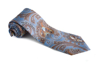 Paisley Vintage Silk Tie - Light Blue/Beige