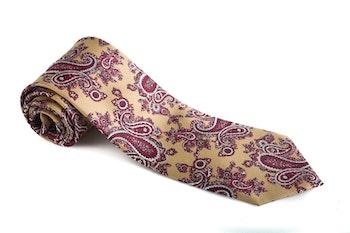 Paisley Vintage Silk Tie - Beige/Burgundy/Pink