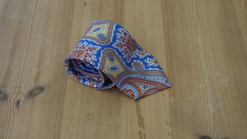 Printed Paisley - Light Blue/Orange