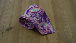 Cotton/Silk Paisley - Purple/Cerise/Fuchsia/Green/White