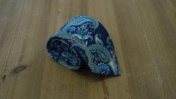 Cotton/Silk Paisley - Navy Blue/Turquoise/Yellow/White