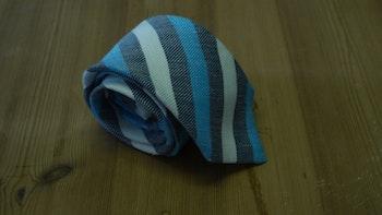 Linen Regimental - Navy Blue/Turquoise/White
