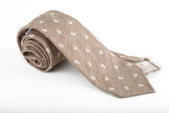 Cotton/Silk Donegal Paisley Untipped - Beige/White