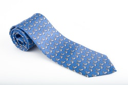 Uccello Vintage Silk Tie - Light Blue