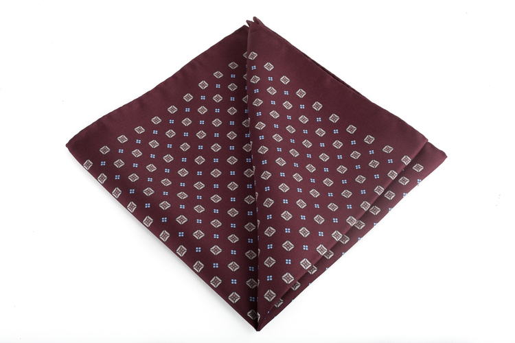 Silk Floral - Burgundy/Beige/Light Blue