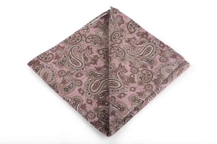 Silk/Cotton Paisley - Pink/Brown