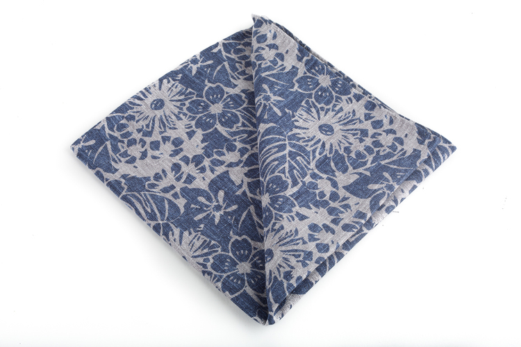 Silk/Cotton Floral - Navy Blue/Grey
