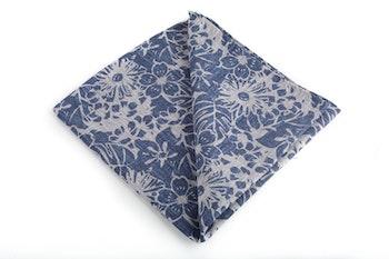 Silk/Cotton Floral - Navy Blue/Grey