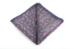 Floral Vintage Silk Pocket Square - Navy Blue/Light Blue/Burgundy/Green