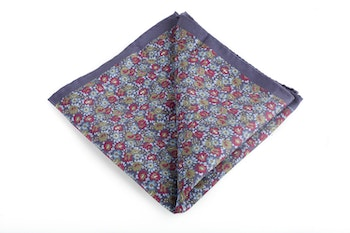 Floral Vintage Silk Pocket Square - Navy Blue/Light Blue/Burgundy/Green