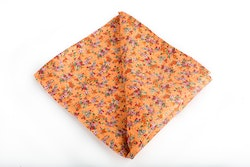 Floral Vintage Silk Pocket Square - Orange/Green/Pink