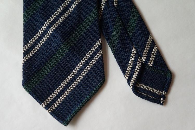 Regimental Jacquard Grenadine Tie - Untipped - Navy Blue/Green/White