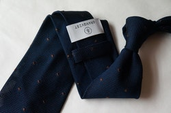 Polka Dot Silk Grenadine Tie - Untipped - Navy Blue/Brown