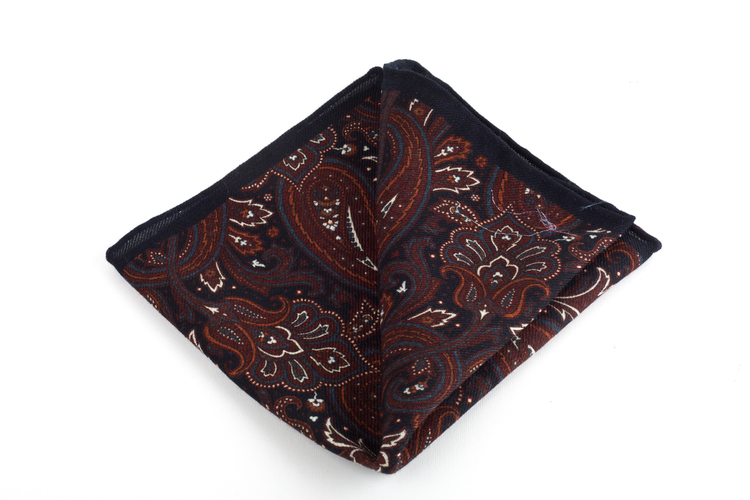 Wool Paisley - Navy Blue/Rust/Grey/White