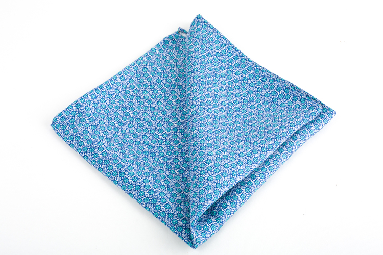 Floral Silk Pocket Square - Light Blue/Turquoise