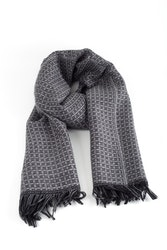 Small Check Wool Scarf - Grey