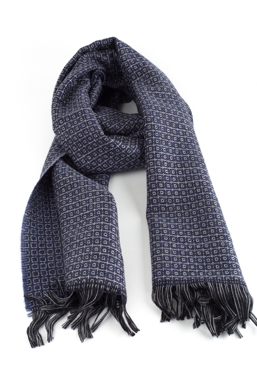 Small Check Wool Scarf - Navy Blue