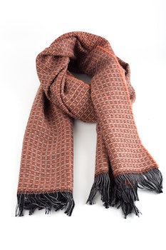 Small Check Wool Scarf - Orange