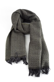 Small Check Wool Scarf - Green