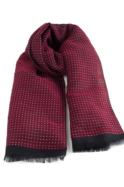 Wool Polka Dot - Burgundy/Grey