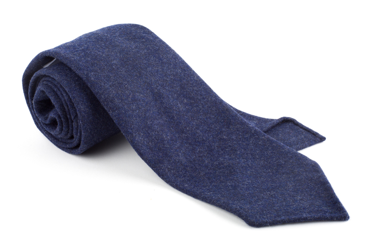 Solid Wool Flannel Untipped Tie - Navy Blue