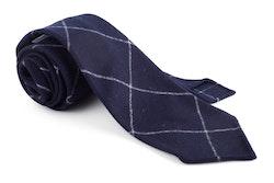 Plaid Wool Untipped Tie - Navy Blue/White