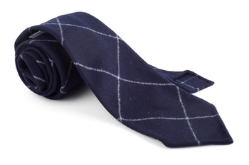 Plaid Wool Untipped Tie - Navy Blue/White