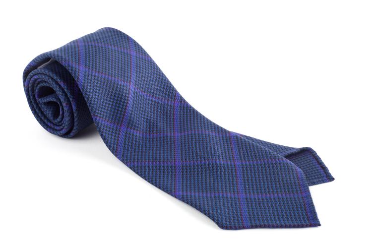 Plaid Wool Untipped Tie - Mid Blue/Purple