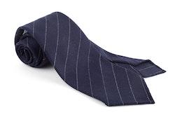 Regimental Wool Untipped Tie - Navy Blue/White