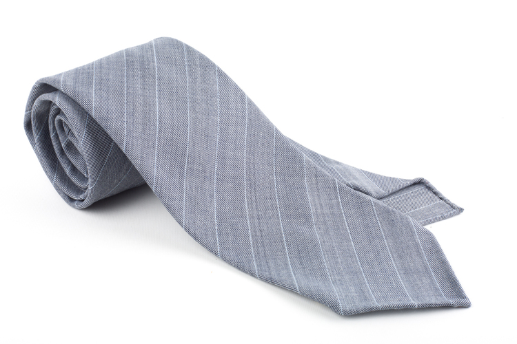 Regimental Light Wool Untipped Tie - Light Grey/White