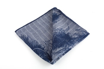 Piuma/Stripe Wool Pocket Square - Double - Grey/Navy Blue