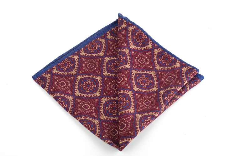 Medallion/ZigZag Silk Pocket Square - Double - Burgundy/Beige/Navy Blue