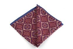 Medallion/ZigZag Silk Pocket Square - Double - Burgundy/Beige/Navy Blue