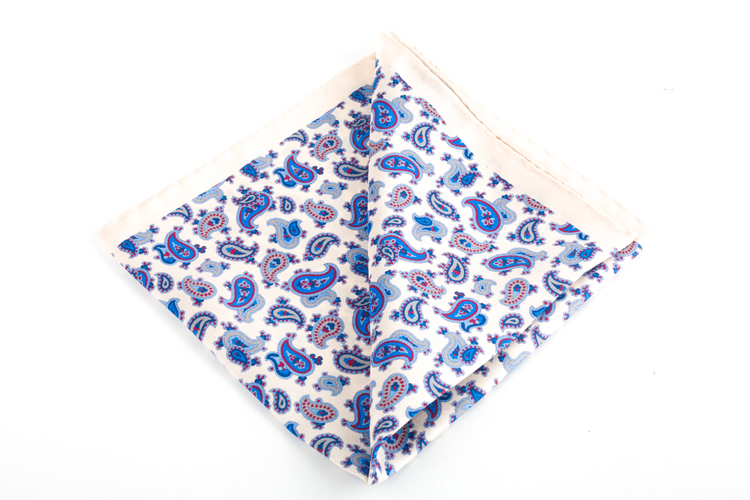Silk Paisley - White/Light Blue/Navy Blue