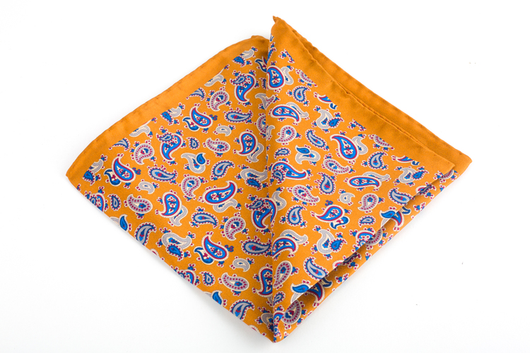 Silk Paisley - Orange/Light Blue/Navy Blue